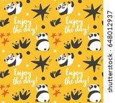 cute animal panda seamless... | Shutterstock .eps vector #648012937