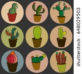 cactus icons set with yellow... | Shutterstock .eps vector #648029503