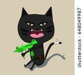 aggressive cat is a terrorist...   Shutterstock .eps vector #648049987