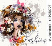 beautiful fashion illustration...   Shutterstock .eps vector #648050707