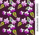 orchid flower seamless pattern...   Shutterstock .eps vector #648064453