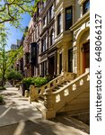 row of brownstones with... | Shutterstock . vector #648066127