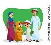 happy muslim family of parents... | Shutterstock .eps vector #648070687