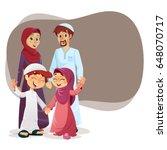 happy muslim family of parents... | Shutterstock .eps vector #648070717