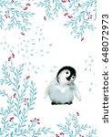 watercolor penguin rosette... | Shutterstock . vector #648072973