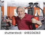 attractive senior man in gym... | Shutterstock . vector #648106363