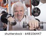 attractive senior man in gym... | Shutterstock . vector #648106447