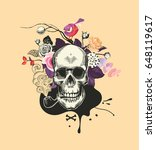human skull drawn in woodcut...   Shutterstock .eps vector #648119617