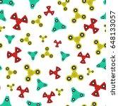 hand spinner seamless pattern.... | Shutterstock .eps vector #648133057