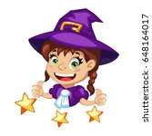 cartoon young girl witch...   Shutterstock .eps vector #648164017