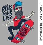 cool hipster skater vector... | Shutterstock .eps vector #648170887