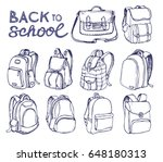 hand drawn vector set of sketch ... | Shutterstock .eps vector #648180313