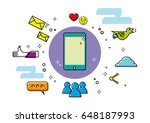 linear style art of mobile... | Shutterstock .eps vector #648187993