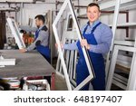 smiling production workers in... | Shutterstock . vector #648197407