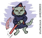 funny cartoon cat dressed in a...   Shutterstock .eps vector #648208003