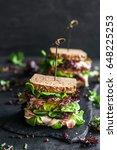 served toast sandwiches | Shutterstock . vector #648225253