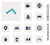 set of 12 adventure icons set...