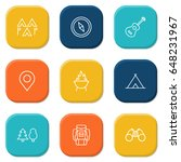 set of 9 outdoor outline icons... | Shutterstock .eps vector #648231967