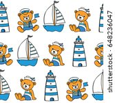 childish nautical seamless... | Shutterstock .eps vector #648236047