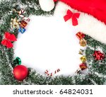 christmas background with hat ... | Shutterstock . vector #64824031