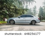 Small photo of Beijing - May 28, 2017: Mercedes Benz C63 AMG (W204), powered by AMG M156 6.2L V8 engine, being the quickest 4-door production sedan in the world at its debut.