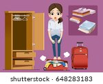prepare luggage in chaos....   Shutterstock .eps vector #648283183