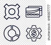 economy icons set. set of 4...