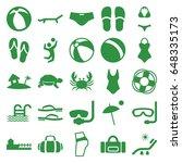 beach icons set. set of 25... | Shutterstock .eps vector #648335173