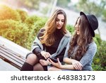 portrait of two beautiful young ... | Shutterstock . vector #648383173