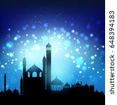 silhouette of mosques against... | Shutterstock .eps vector #648394183