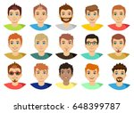 man face avatar set isolated on ... | Shutterstock .eps vector #648399787