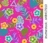 colorful tropical seamless... | Shutterstock .eps vector #648417013
