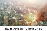 double exposure hand stacked...   Shutterstock . vector #648452413