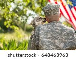 Soldier With Military Dog...