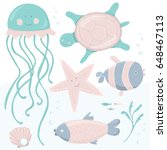cute kids illustration with sea ... | Shutterstock .eps vector #648467113