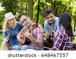 group of young people having... | Shutterstock . vector #648467557