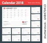 calendar template for 2018 year....   Shutterstock .eps vector #648470413