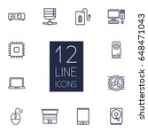 set of 12 laptop outline icons... | Shutterstock .eps vector #648471043
