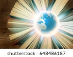 globe and books on wooden...   Shutterstock . vector #648486187