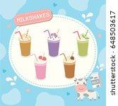 milkshakes various flavor menu...   Shutterstock .eps vector #648503617