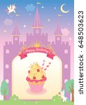 princess cupcake decorated with ... | Shutterstock .eps vector #648503623