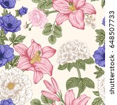 seamless pattern with flowers.... | Shutterstock .eps vector #648507733