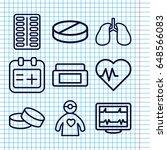set of 9 healthcare outline...   Shutterstock .eps vector #648566083