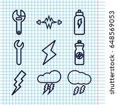 set of 9 bolt outline icons... | Shutterstock .eps vector #648569053