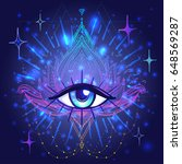 all seeing eye in lotus vector... | Shutterstock .eps vector #648569287