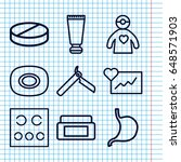 set of 9 care outline icons...   Shutterstock .eps vector #648571903