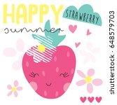 cute strawberry fruit vector... | Shutterstock .eps vector #648579703