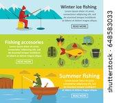 fishing tools banner horizontal ... | Shutterstock .eps vector #648583033