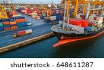 container container ship in... | Shutterstock . vector #648611287