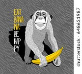 monkey with a banana on a gray... | Shutterstock .eps vector #648631987